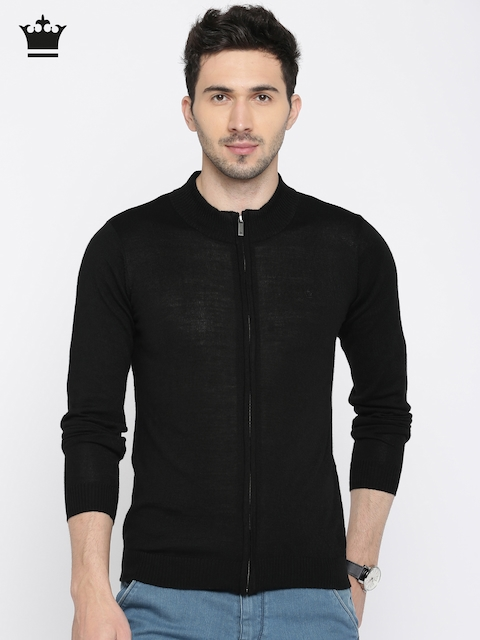 Louis Philippe Men Black Solid Front-Open Sweater