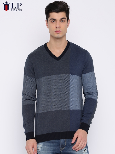 Louis Philippe Jeans Men Blue & Grey Colourblocked Pullover