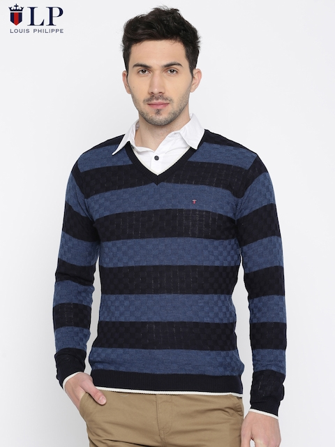 Louis Philippe Sport Men Blue Self Design Pullover