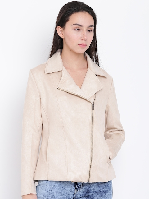 Fort Collins Women Beige Solid Asymmetric Closure Tailored Jacket