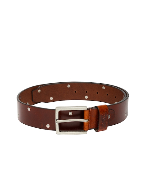 Flying Machine Men Brown Leather Belt with Metallic Studs