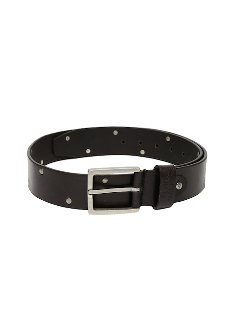 Flying Machine Men Black Leather Belt with Metallic Studs