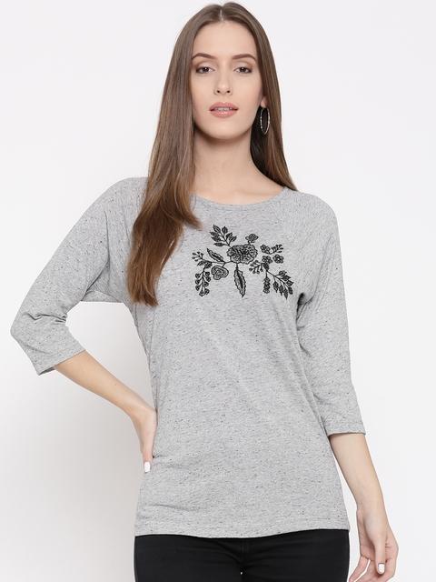 Vaak Women Grey Melange Embroidered Detail Top