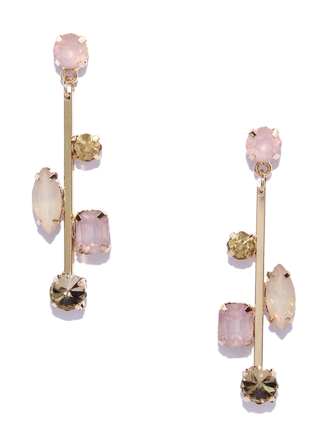 Bellofox Pink & Gold-Toned Contemporary Drop Earrings