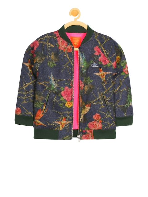 Cherry Crumble Girls Navy Blue & Pink Printed Bomber