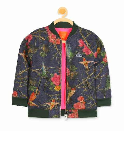 Cherry Crumble Girls Blue Printed Bomber Jacket