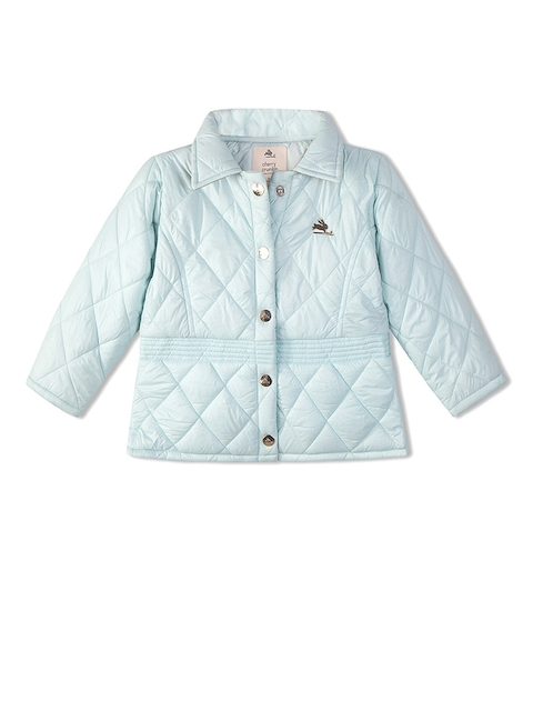 Cherry Crumble Kids Blue Solid Quilted Jacket