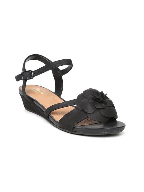 Clarks Women Black Floral Leather Sandals