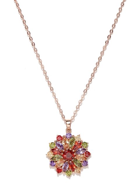 Jewels Galaxy Multicoloured 18K Rose Gold-Plated CZ Stone-Studded Pendant with Chain
