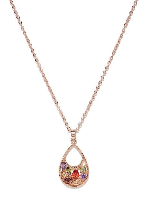 Jewels Galaxy Multicoloured Rose Gold-Plated Stone-Studded Pendant with Chain
