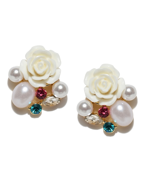 Jewels Galaxy Off-White Gold-Plated Floral Handcrafted Oversized Stone Studs