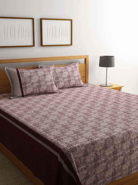 ROMEE Maroon Polycotton Printed Double Bed Cover