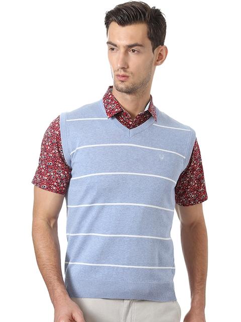 Allen Solly Men Blue & White Striped Sweater Vest