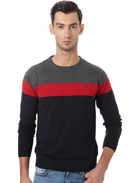 Allen Solly Men Navy & Grey Colourblocked Sweater