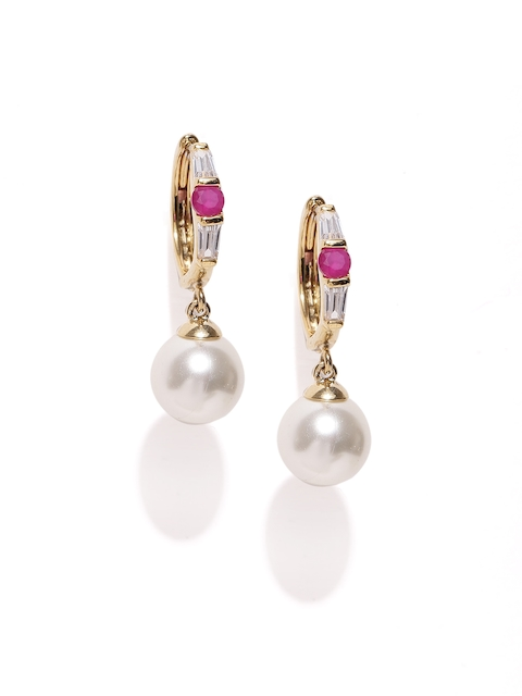 Alamod Off-White & Pink Gold-Plated CZ Stone-Studded Hoop Earrings