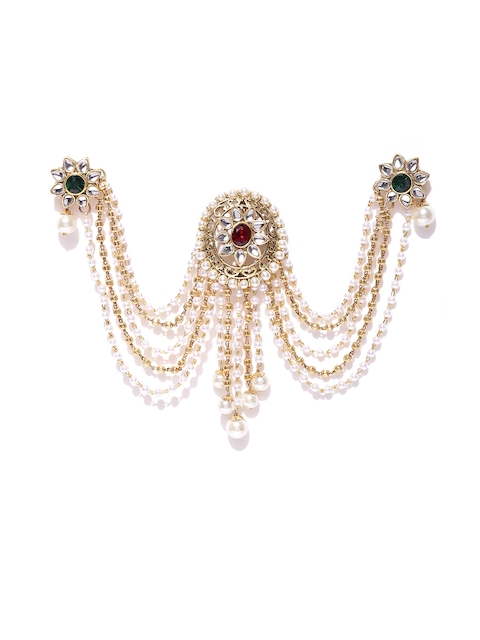 Alamod Off-White & Red Gold-Plated Traditional Kundan Stone-Studded Pearl Hair Ornament