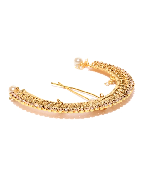 Alamod Traditional Gold-Plated Pearl Stone-Studded Hair Ornament