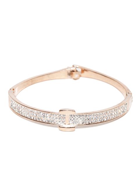 Alamod Silver-Toned Rose Gold-Plated CZ Stone-Studded Bangle-Style Bracelet