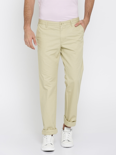 Indian Terrain Men Beige Kansas Straight Fit Solid Regular Trousers