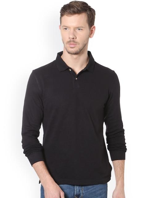 Peter England Casuals Men Black Solid Polo Collar T-shirt