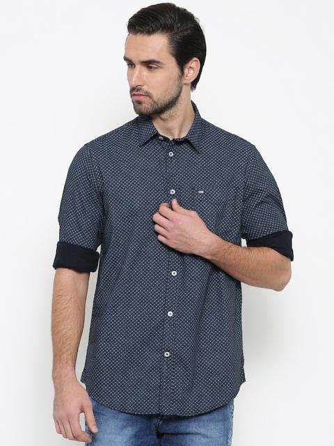 Arrow Sport Men Black & Navy Blue Slim Fit Printed Casual Shirt