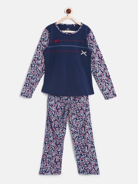 Sweet Dreams Girls Blue & Purple Printed Night Suit 6114G7