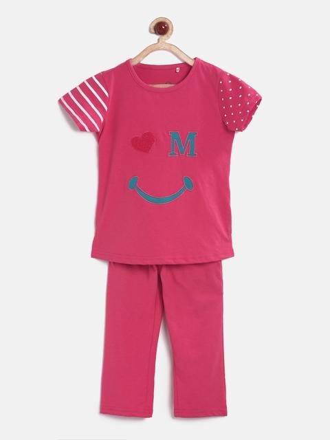 Sweet Dreams Girls Pink Appliqu Detail Night Suit 6240G7