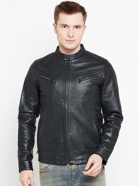 Jack & Jones Men Black Solid Goat Leather Jacket