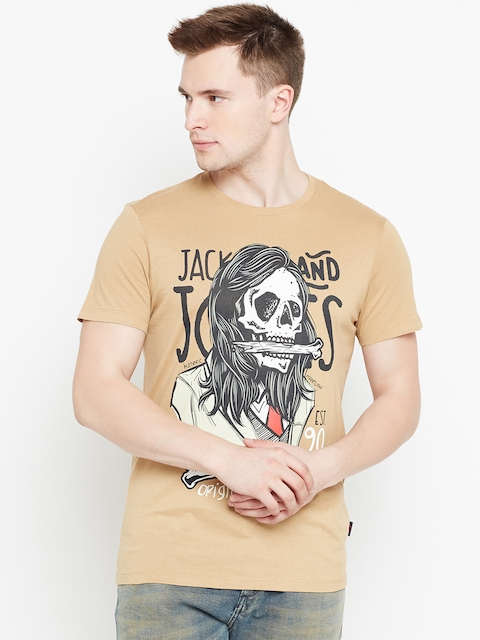 Jack & Jones Men Beige Printed Round Neck T-shirt