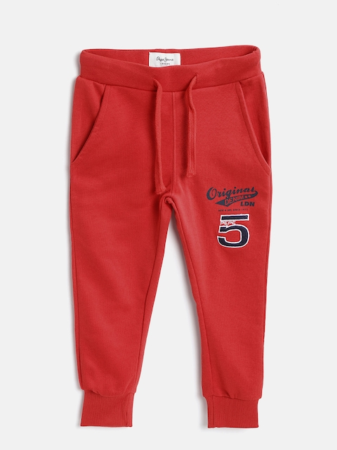 Pepe Jeans Kids Red Solid Joggers