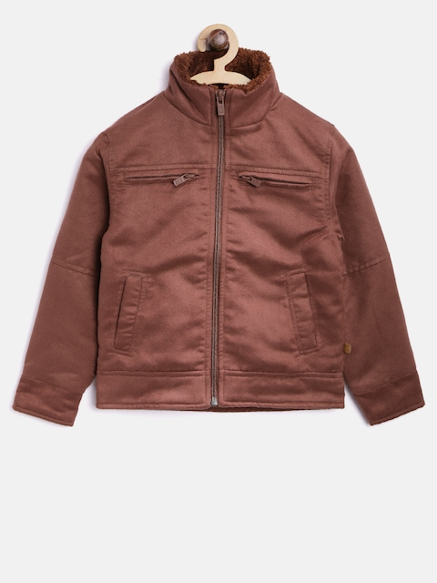 Pepe Jeans Boys Rust Brown Solid Tailored Jacket