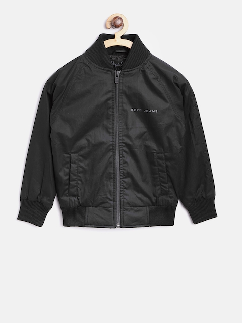 Pepe Jeans Boys Black Solid Bomber Jacket with Appliqu Detail
