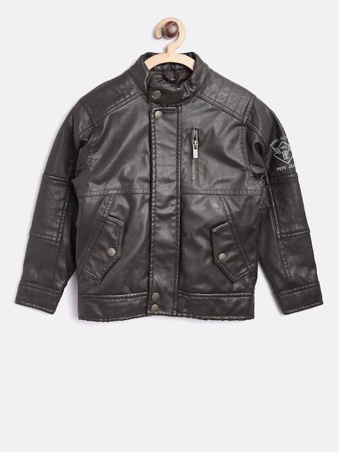 Pepe Jeans Boys Brown Solid Biker Jacket
