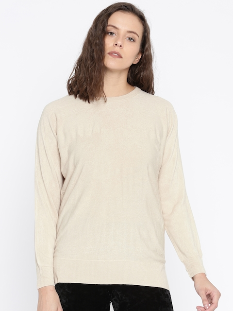 FOREVER 21 Women Beige Solid Pullover