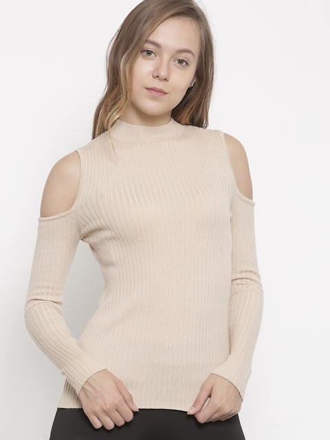 FOREVER 21 Women Beige Cold-Shoulder Pullover