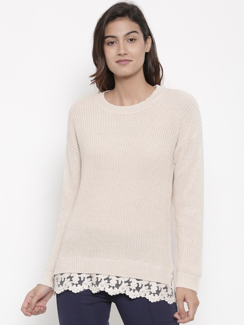 FOREVER 21 Women Beige Self-Design Pullover Sweater