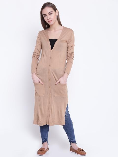FOREVER 21 Women Beige Longline Cardigan