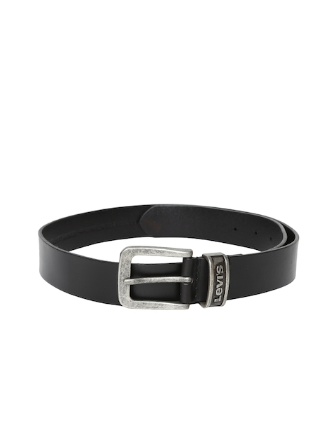 Levis Men Black Solid Leather Belt