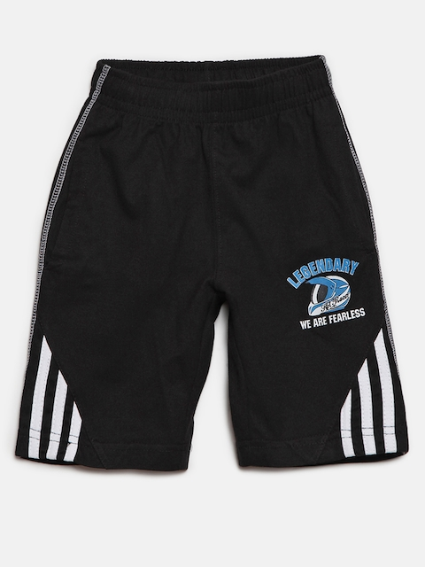 SDL by Sweet Dreams Boys Black Solid Lounge Shorts BS-5947G7