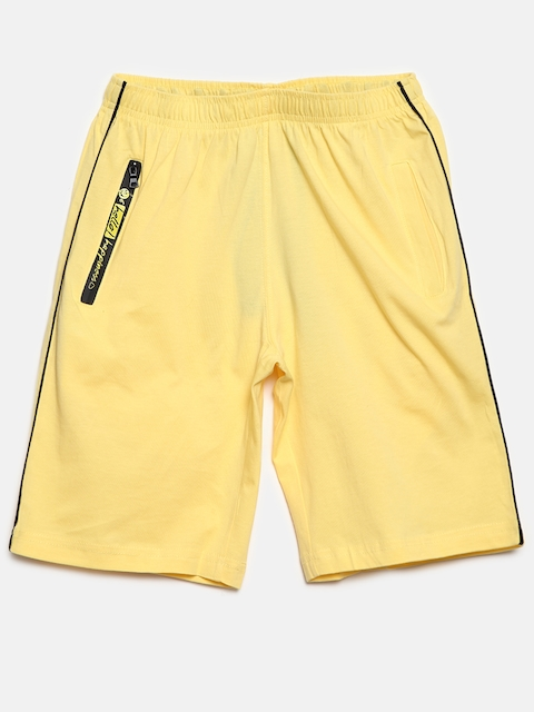 SDL by Sweet Dreams Boys Yellow Solid Lounge Shorts BS-5950G7