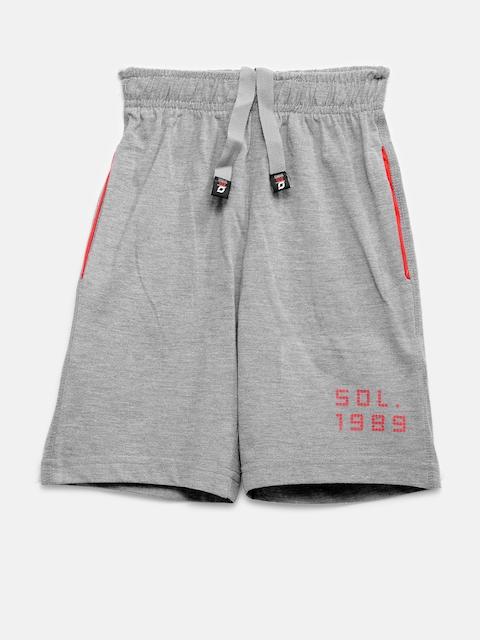 SDL by Sweet Dreams Boys Grey Melange Solid Lounge Shorts F-BS-0003