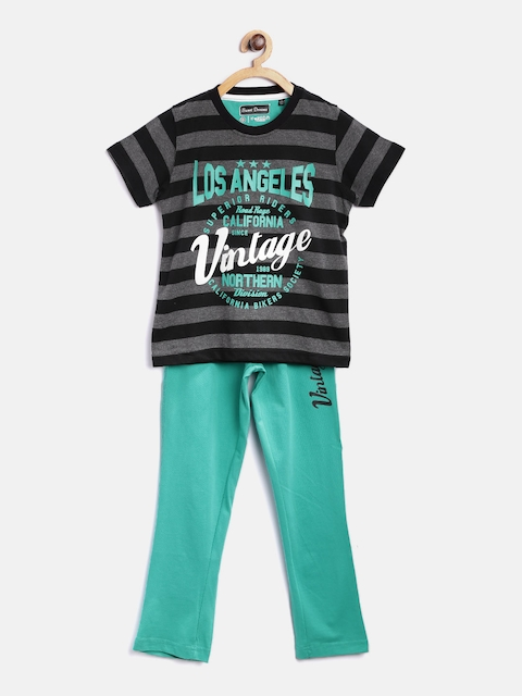 SDL by Sweet Dreams Boys Grey Melange & Black Striped Lounge Set 511876CO