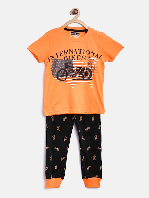 SDL by Sweet Dreams Boys Orange & Black Printed Lounge Set 514376CO