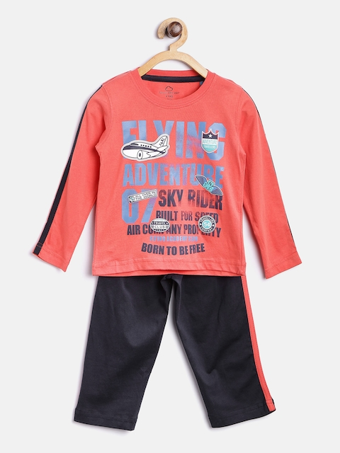 SDL by Sweet Dreams Boys Coral Red & Navy Blue Printed Lounge Set