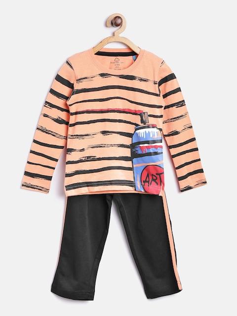 SDL by Sweet Dreams Boys Peach-Coloured & Black Striped Lounge Set 7021G7
