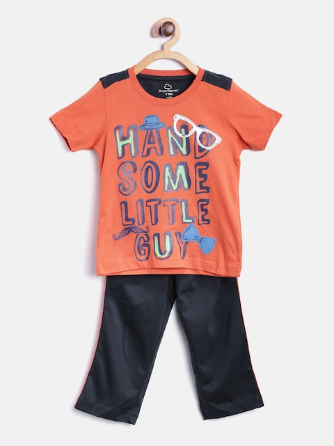 SDL by Sweet Dreams Boys Orange & Navy Blue Printed Lounge Set 7204G7