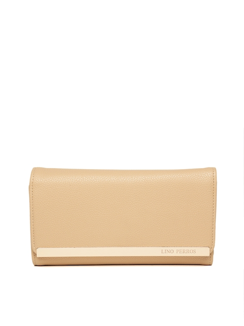Lisa Haydon for Lino Perros Women Beige Solid Three Fold Wallet