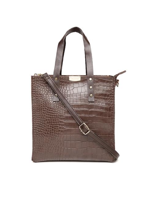 Lisa Haydon for Lino Perros Coffee Brown Croc Textured Handheld Bag