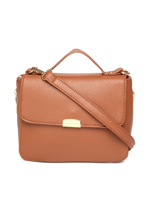 Lisa Hayden for Lino Perros Tan Brown Solid Satchel with Sling Strap