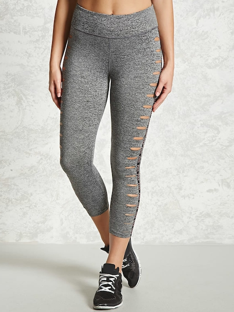 FOREVER 21 Grey Melange Tights with Cut-Outs